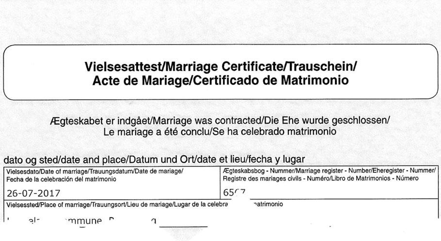 Kopf einer dänischen Heiratsurkunde